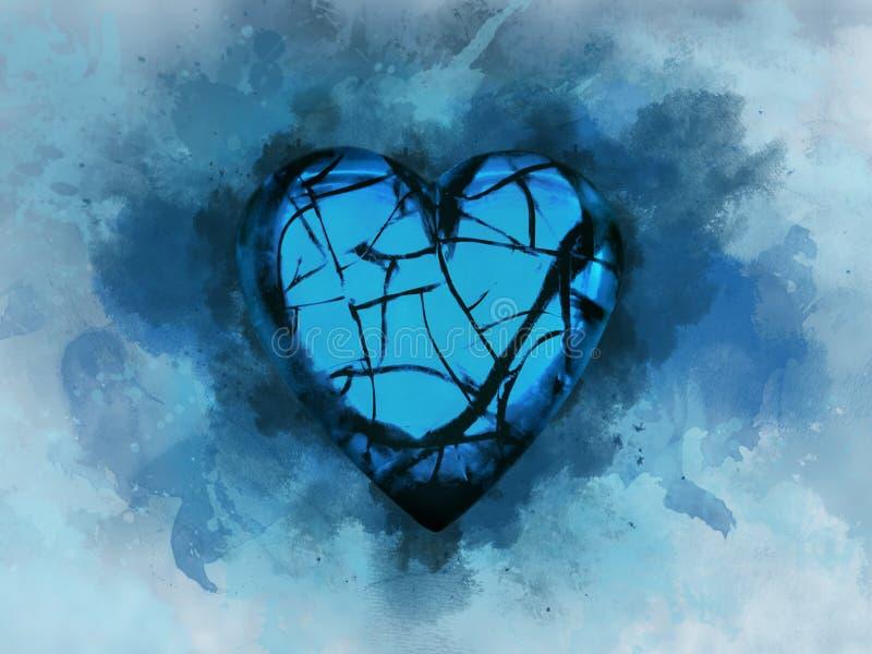 Blauw gebroken hart op blauwe achtergrond stock illustratie