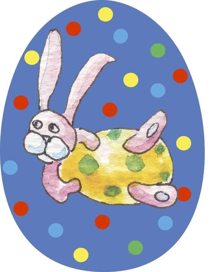 Blauw gelukkig paasei op een witte achtergrond in multicolored cirkels met waterverfpatroon in het midden - roze konijn met yello vector illustratie