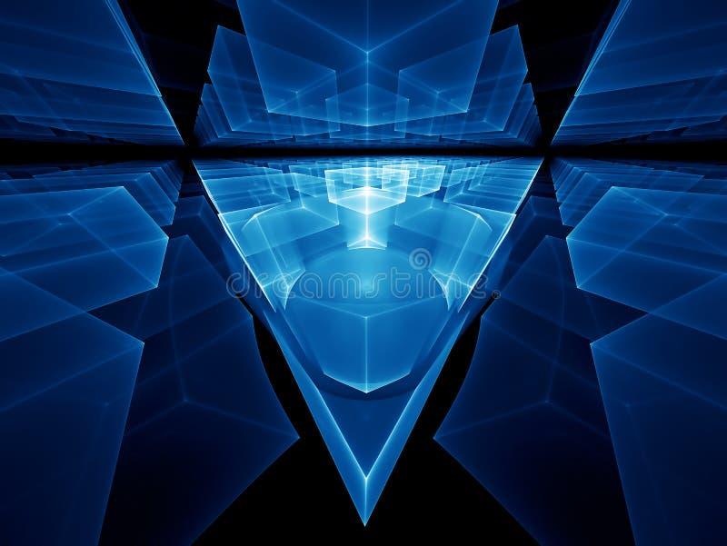 Blauw geometrisch perspectief royalty-vrije illustratie
