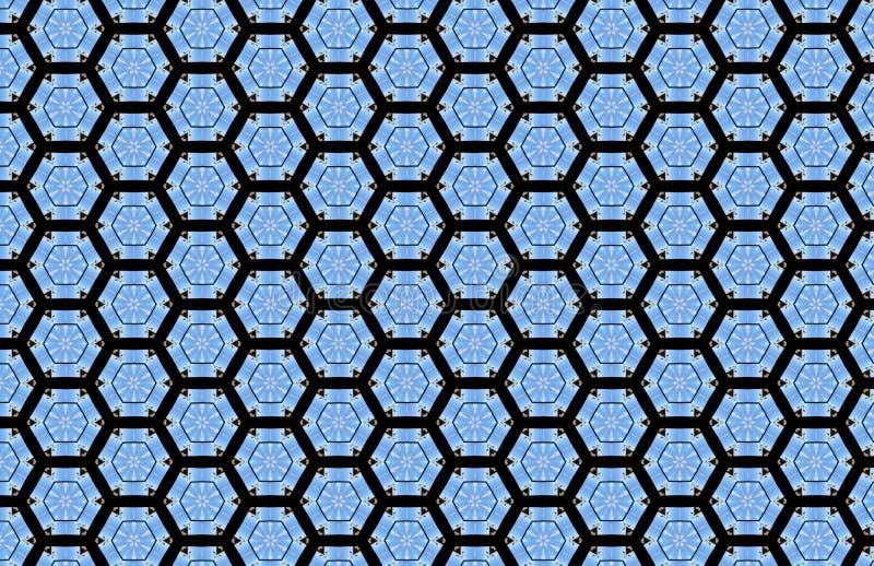 Blauw Geometrisch Vormen Zwart Abstract Patroon royalty-vrije illustratie