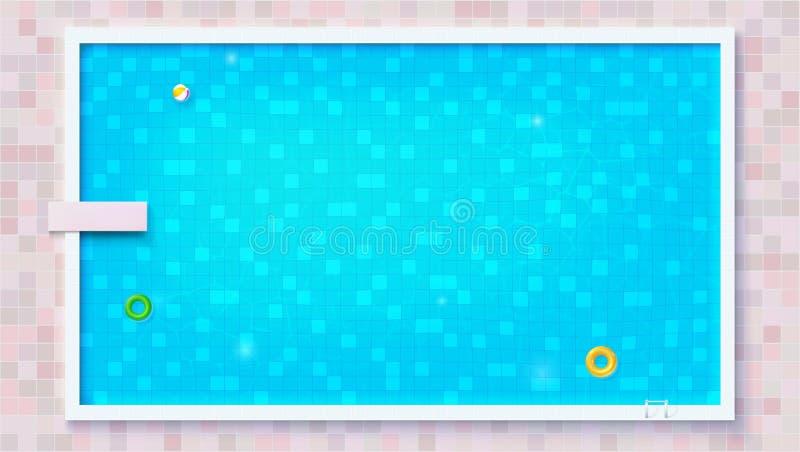 Blauw gescheurd water in zwembad, hoogste mening De grote openluchtpool met opblaasbaar vlak waterspeelgoed, legt mening Luchtmat stock illustratie