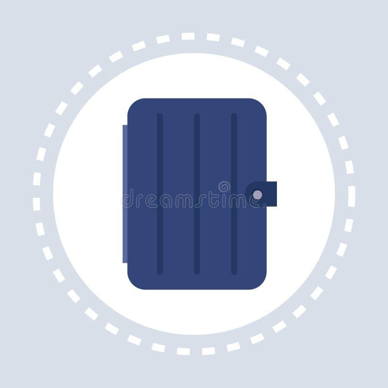 Blauw gesloten organisatorblocnote het winkelen pictogramembleem vlak stock illustratie