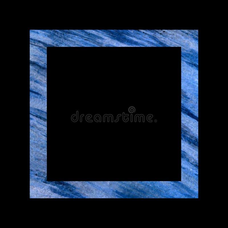 Blauw geweven vierkant kader op een zwarte achtergrond, grote diagonale spontane slagen vector illustratie