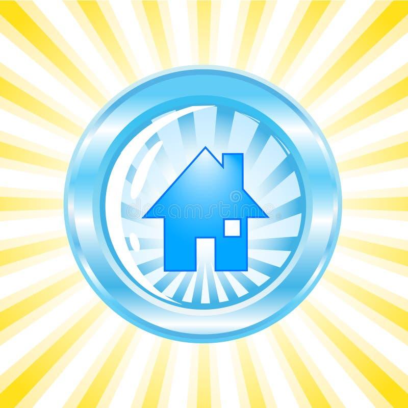 Blauw glanzend pictogram met een huis op het royalty-vrije illustratie