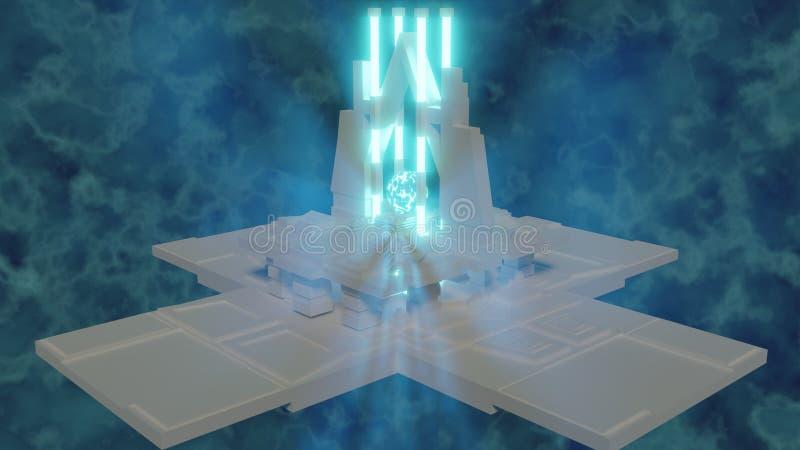 Blauw gloeiend gebied van energie op achtergrond onder tempels 3d teruggeven het als achtergrond royalty-vrije illustratie