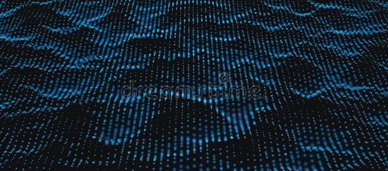 Blauw Golvend Deeltje Dots Surface royalty-vrije illustratie