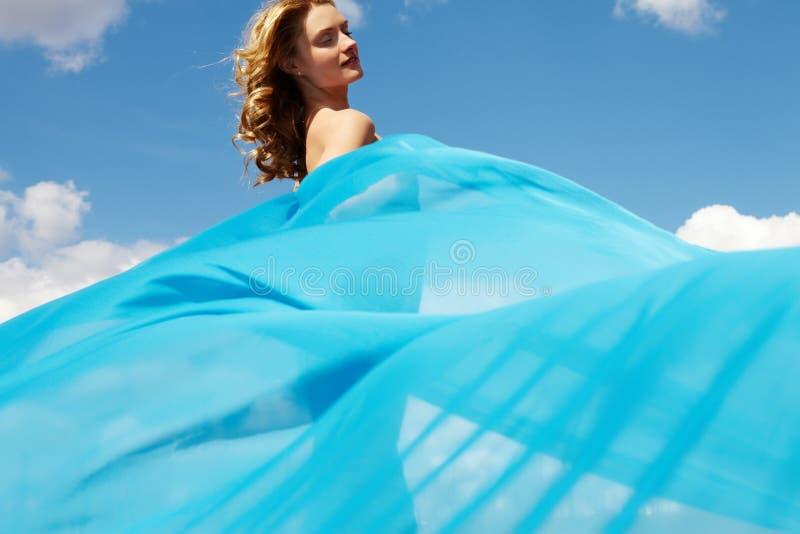 Blauw gordijn royalty-vrije stock fotografie