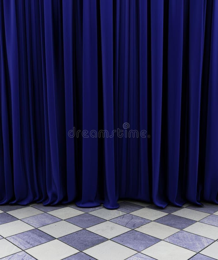 Blauw gordijn vector illustratie