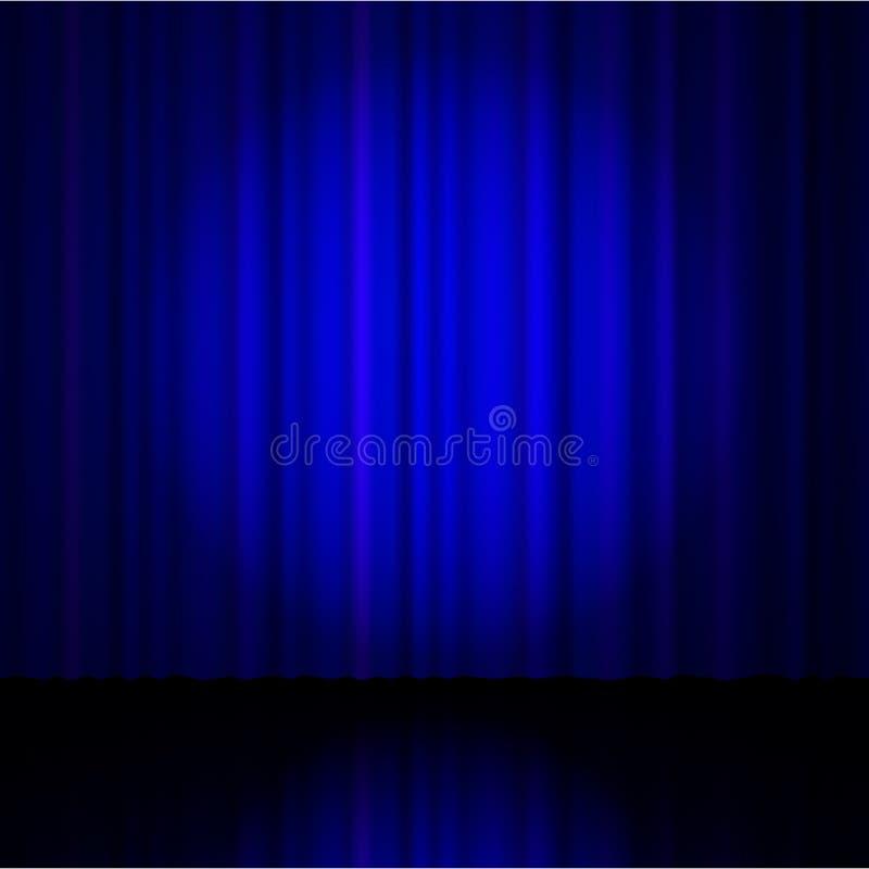 Blauw gordijn van het theater stock illustratie