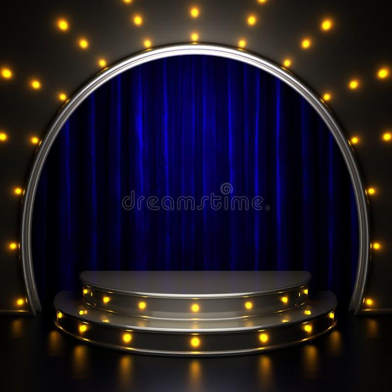 Blauw gordijnstadium met lichten royalty-vrije stock afbeeldingen