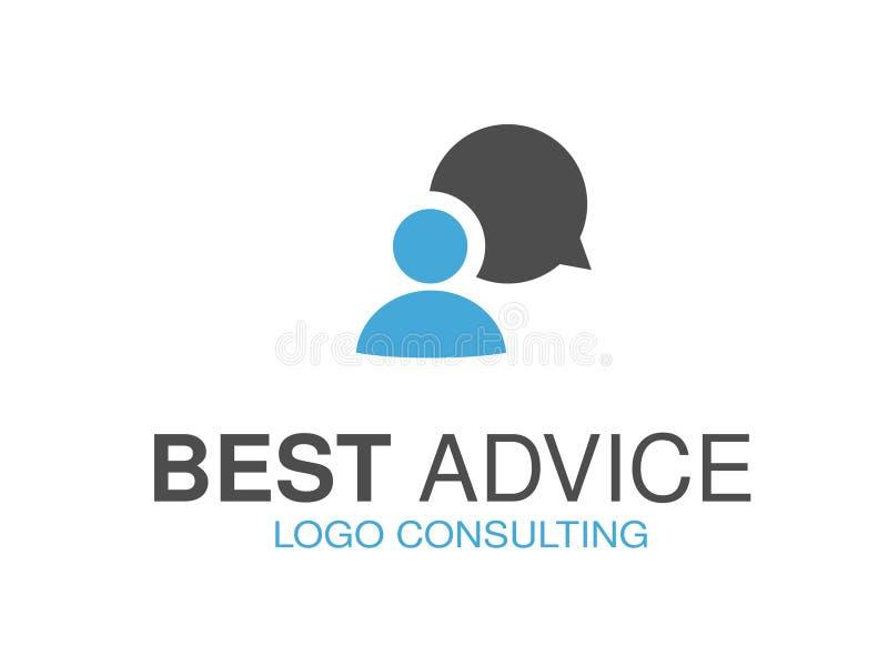 Blauw grijs merk voor het raadplegen van agentschap, beste raad Embleemontwerp met symbool van de toespraakbel en mens vector illustratie