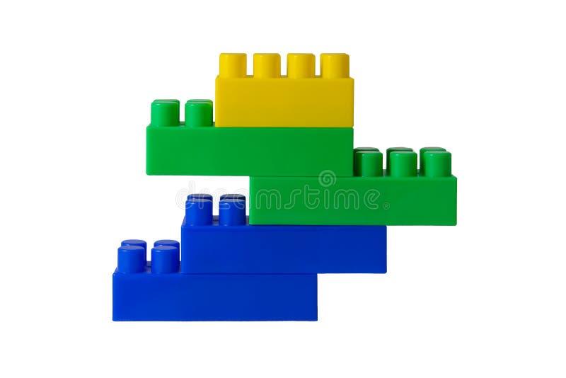 Blauw-groen-geel cijfer van blokken van de ontwerper van de kinderen stock foto