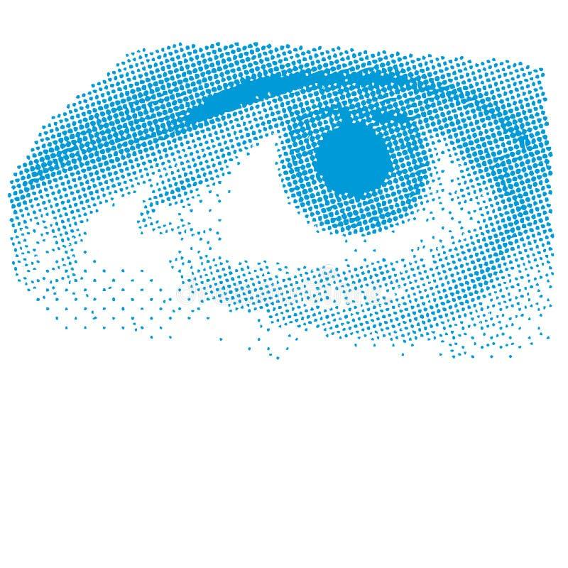Blauw Halftone Oog vector illustratie