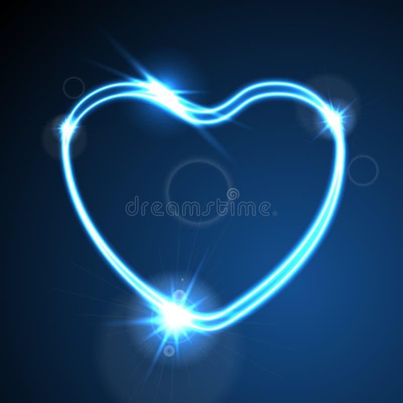 Blauw hart, gloeiende neoneffect abstracte achtergrond royalty-vrije illustratie