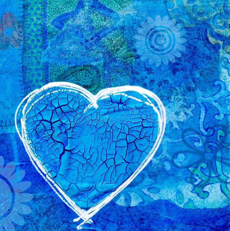 Blauw hart op collageachtergrond stock illustratie