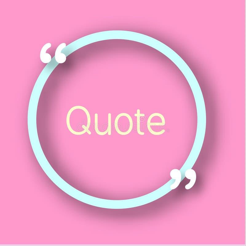 Blauw het document van de cirkelvorm Kader met komma's voor uw tekst Citaatbel in realistische stijl op heldere roze achtergrond  stock illustratie
