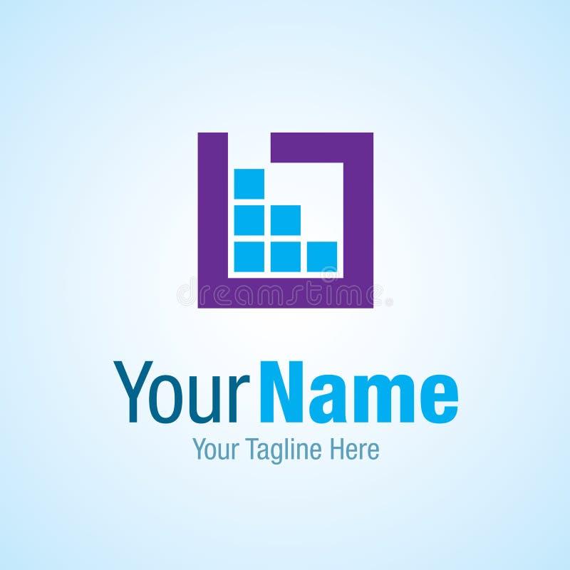 Blauw het embleempictogram van het bedrijfsgegevens grafisch ontwerp stock illustratie