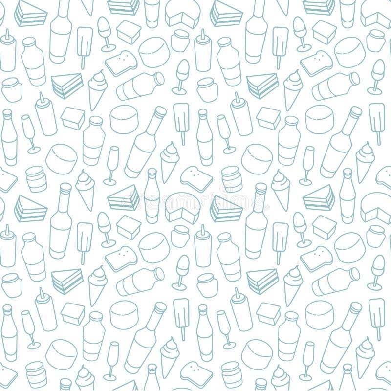 Blauw het pictogram naadloos patroon van de voedsellijn vector illustratie