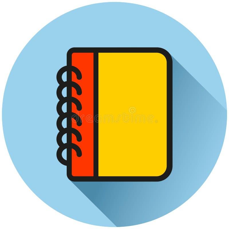 Blauw het pictogramconcept van de notitieboekjecirkel royalty-vrije illustratie