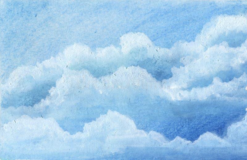 Blauw het waterkleur van de hemelwolk het schilderen art. royalty-vrije illustratie