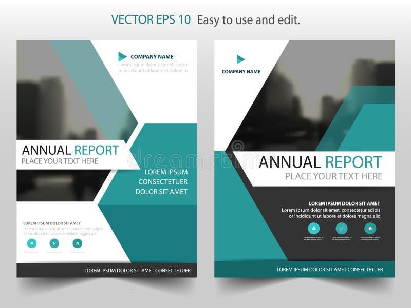 Blauw hexagon Vector van de het Pamfletvlieger van het Brochure jaarverslag het malplaatjeontwerp, de lay-outontwerp van de boekd royalty-vrije illustratie
