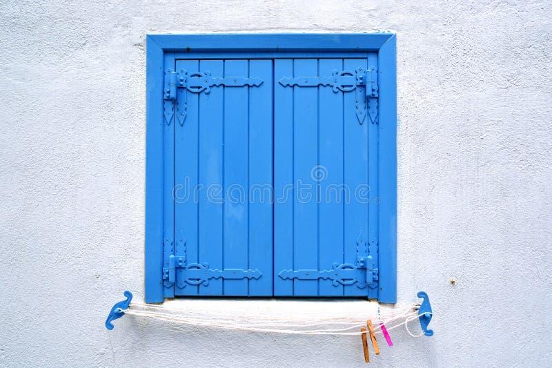 Blauw houten blind royalty-vrije stock fotografie