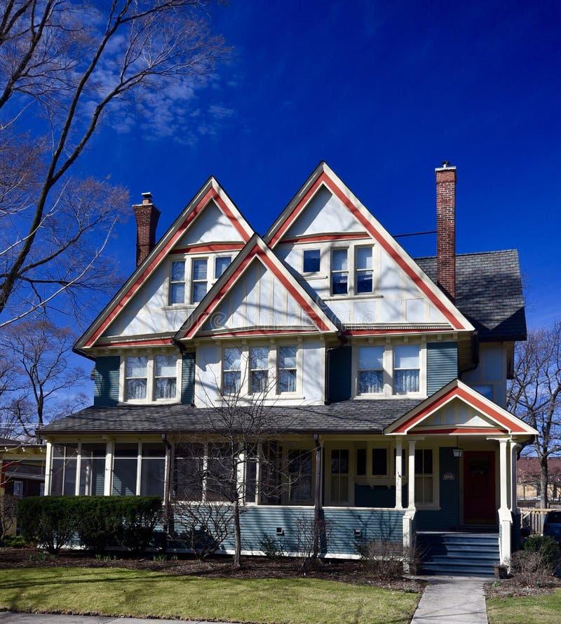 Blauw Huis in Beverly stock afbeelding