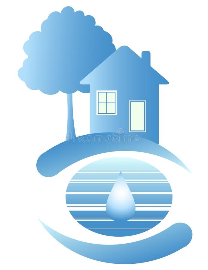 Blauw huis en een daling van water royalty-vrije illustratie