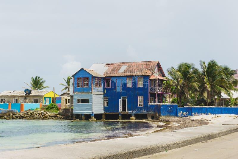 Blauw huis, San Andrés stock foto's