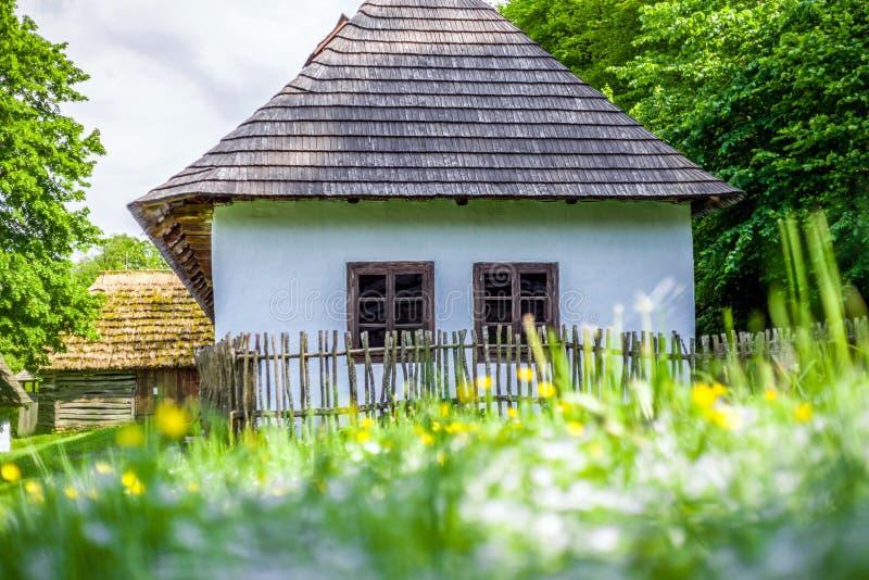 Blauw huis in Saris-museum, Slowakije royalty-vrije stock afbeelding