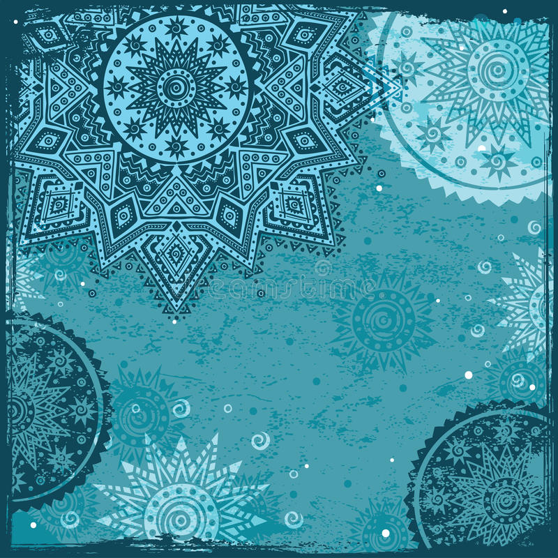 Blauw Indisch etnisch ornament royalty-vrije illustratie