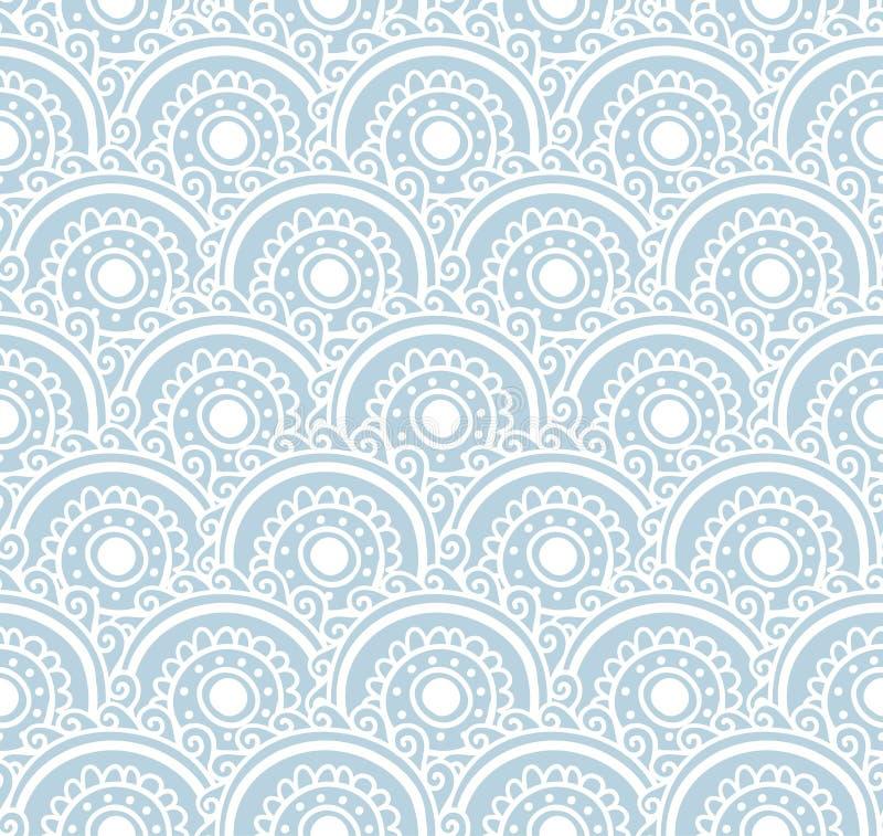 Blauw kant naadloos patroon Vector illustratie Achtergrond met bloemengolven royalty-vrije illustratie