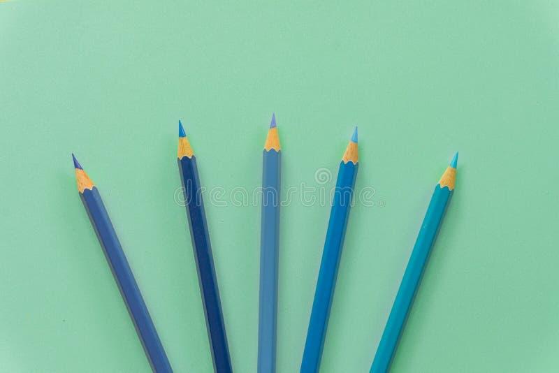 Blauw kleurpotlood ??n enkel voorwerp, hoogste mening, heldere tint Houten hexagonaal vat, zonder gom H royalty-vrije stock foto's