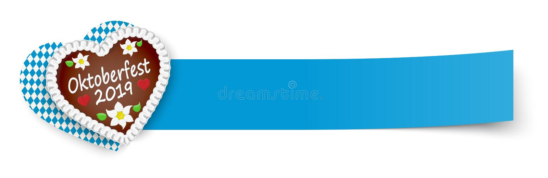 blauw kleverig document met peperkoekhart Oktoberfest 2019 stock illustratie