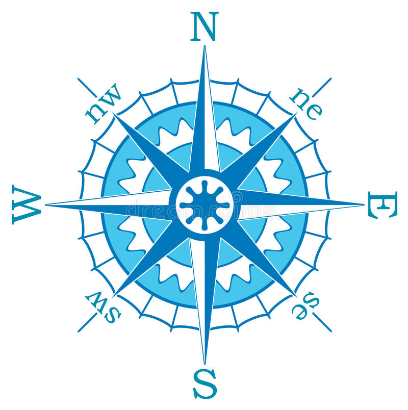 Blauw kompas royalty-vrije illustratie