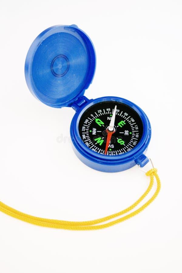 Blauw kompas dat het noorden toont stock fotografie