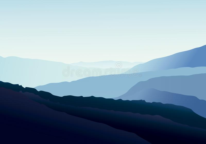 Blauw landschap over montains Explosieve aardillustratie vector illustratie