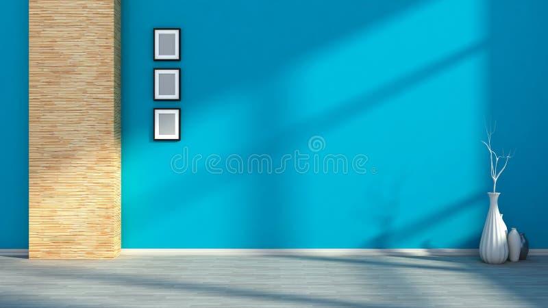 Blauw leeg binnenland met vazen royalty-vrije illustratie