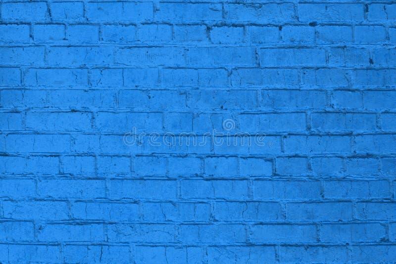 Blauw leeg ontwerppatroon van geschilderde bakstenen muur die als textuur of achtergrond kan worden gebruikt royalty-vrije stock foto's