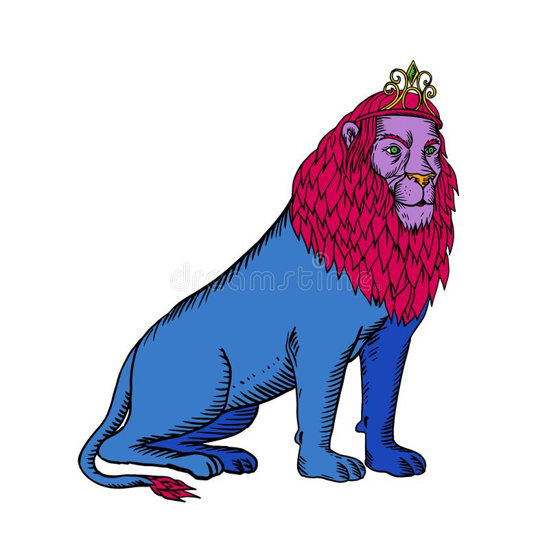 Blauw Lion Sitting Wearing Tiara Crown Ets vector illustratie