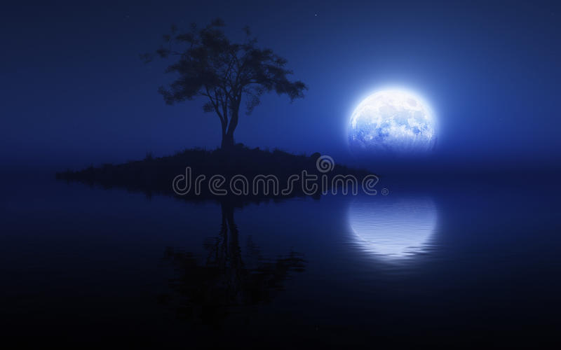 Blauw Maanlicht royalty-vrije illustratie