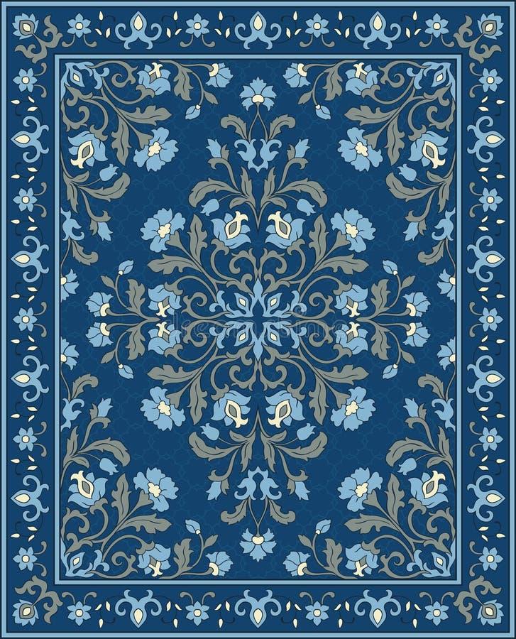 Blauw malplaatje voor tapijt stock illustratie