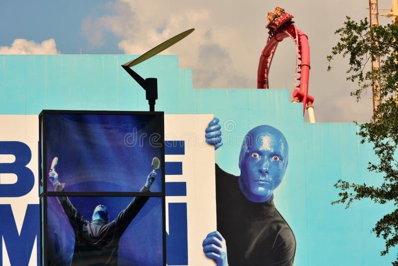 Blauw Man Group toont in Citywalk Universal Studios royalty-vrije stock afbeeldingen