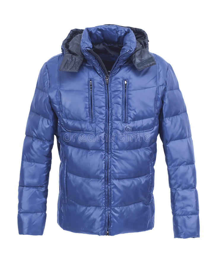 Blauw mannelijk de winterjasje royalty-vrije stock afbeeldingen