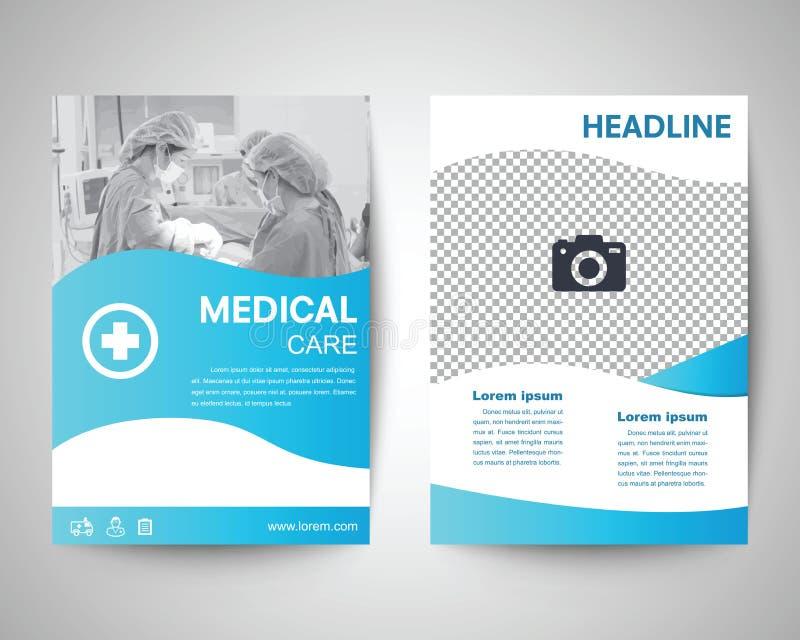 Blauw medisch vliegera4 malplaatje vector illustratie