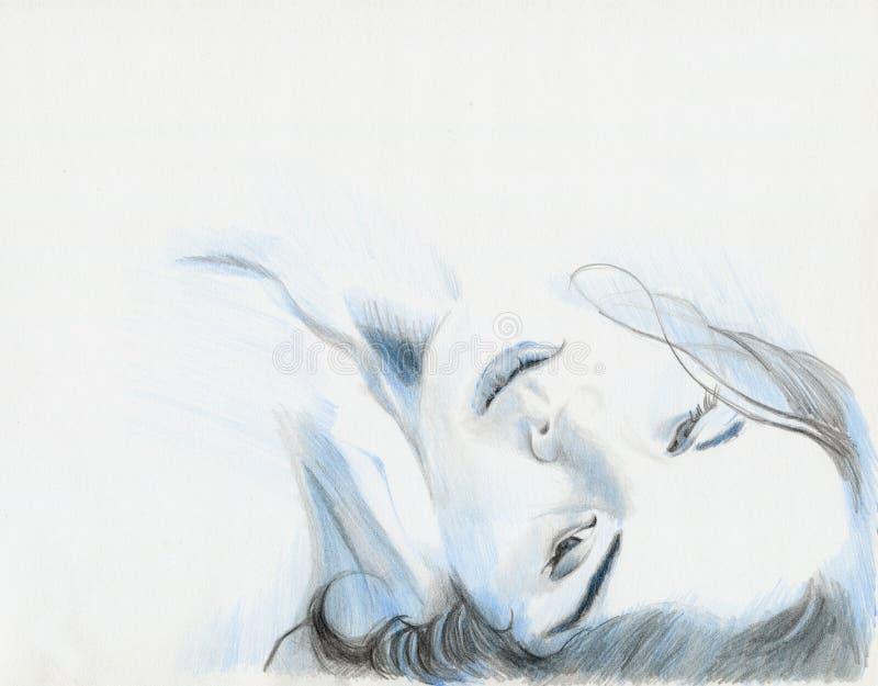 Blauw Meisje vector illustratie