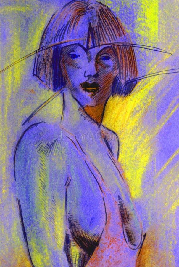 Blauw meisje royalty-vrije illustratie