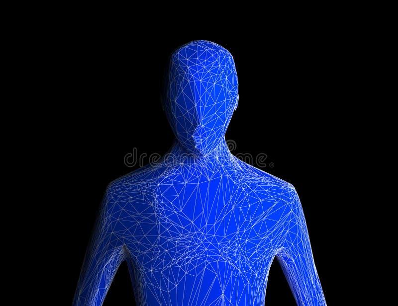 Blauw menselijk die lichaam op zwarte achtergrond wordt geïsoleerd Kunstmatige Intelli vector illustratie