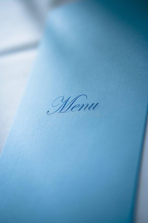 Blauw menu stock afbeelding