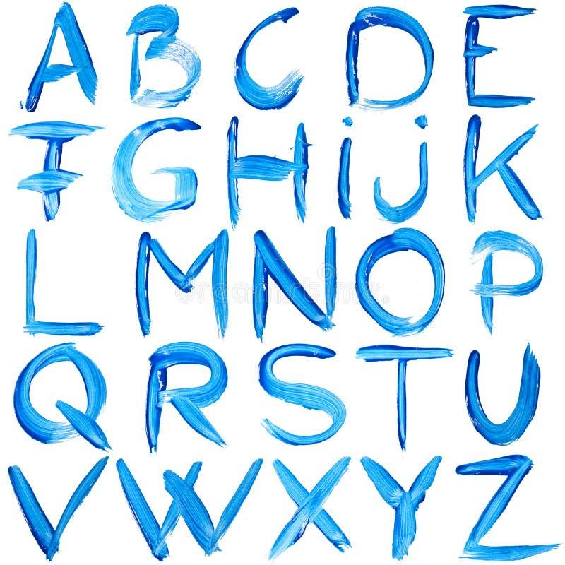 Blauw met de hand geschreven alfabet royalty-vrije illustratie